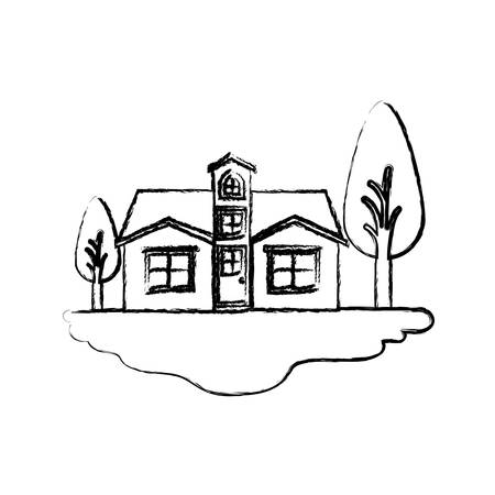 rural road: monochrome blurred silhouette scene of outdoor landscape and facade house with attic vector illustration