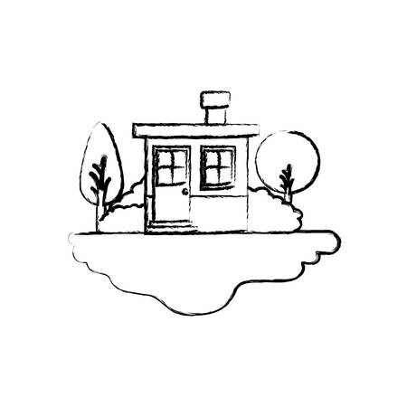 rural road: monochrome blurred silhouette scene of outdoor landscape and small house with chimney vector illustration Illustration