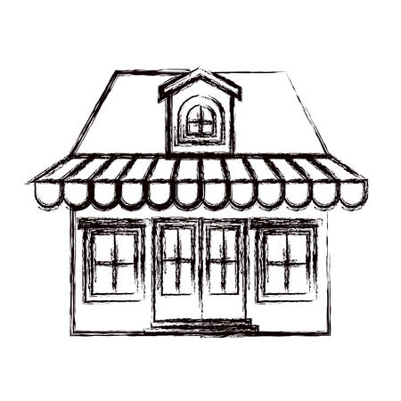 attic: monochrome blurred silhouette of store with awning and attic vector illustration Illustration