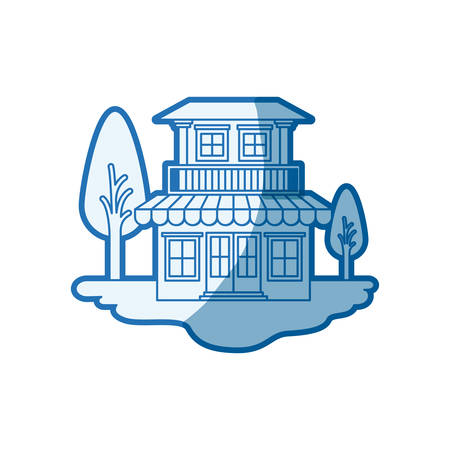 blue shading silhouette scene of outdoor landscape and house with two floors and balcony vector illustration
