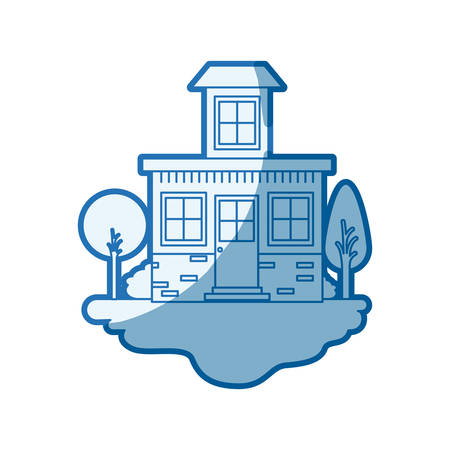 rural road: blue shading silhouette scene of outdoor landscape and house with small attic vector illustration Illustration