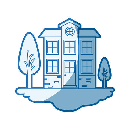 blue shading silhouette scene of outdoor landscape and facade house of two floors with attic vector illustration
