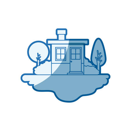 blue shading silhouette scene of outdoor landscape and small house with chimney vector illustration