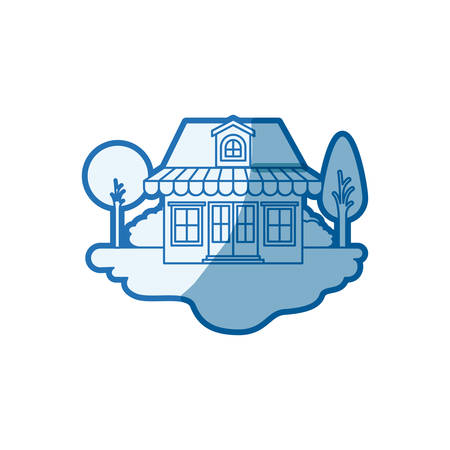 blue shading silhouette scene of outdoor landscape and store with awning and attic vector illustration