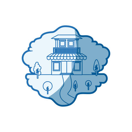 rural road: blue shading silhouette scene of natural landscape and house with two floors with balcony and awning vector illustration
