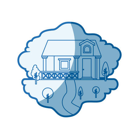blue shading silhouette scene of natural landscape and facade house with railing and attic vector illustration