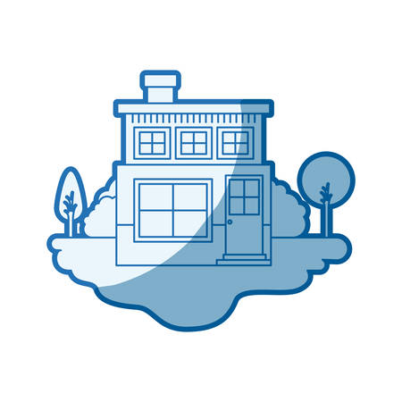 blue shading silhouette scene of outdoor landscape and house of two floors with chimney vector illustration
