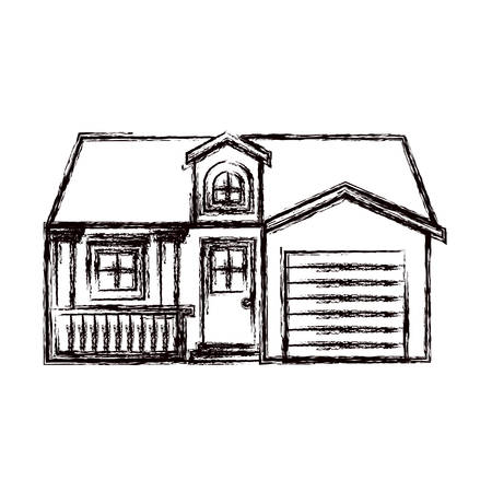 garage on house: monochrome blurred silhouette facade house with garage and attic vector illustration Illustration