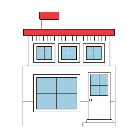apartment suite: color sections silhouette house of two floors and chimney vector illustration