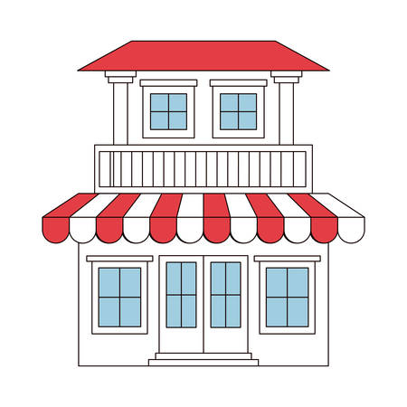color sections silhouette of house with two floors with balcony and awning vector illustration