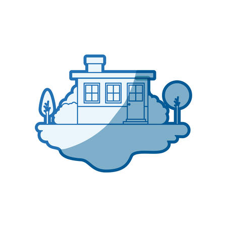 blue shading silhouette scene of outdoor landscape and small house facade with chimney vector illustration