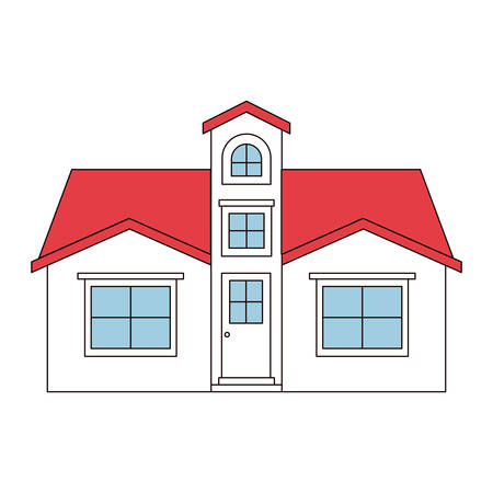 apartment suite: color sections silhouette facade house with attic vector illustration