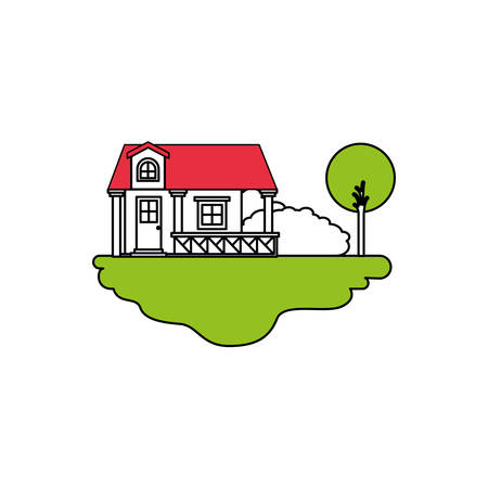 color sections silhouette scene of outdoor landscape and facade house with railing and attic vector illustration Illustration