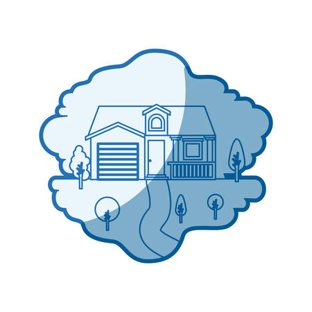 blue shading silhouette scene of natural landscape and facade house with garage and attic vector illustration