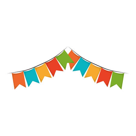 white background with colorful festoons in shape of square with peaks vector illustration Illustration