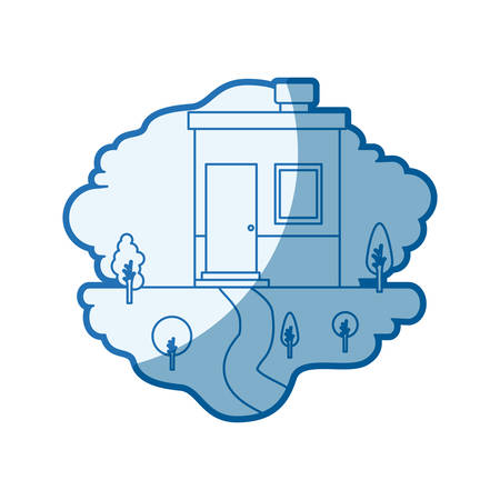 blue shading silhouette scene of natural landscape and small house with chimney vector illustration Illustration