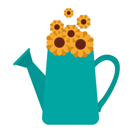 white background with watering can and sunflowers inside vector illustration
