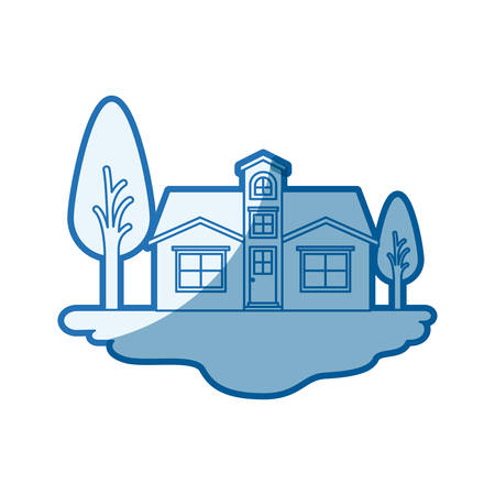 blue shading silhouette scene of outdoor landscape and facade house with attic vector illustration Illustration