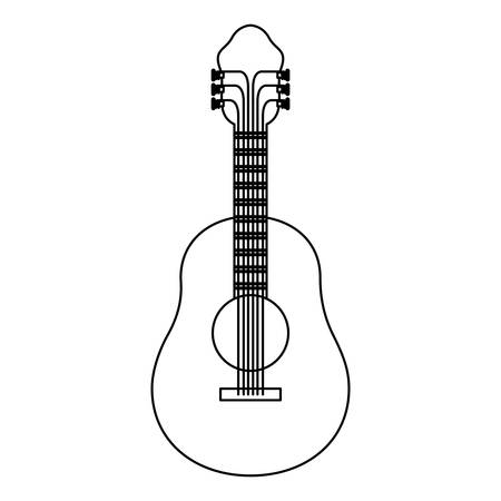 monochrome silhouette of acoustic guitar vector illustration