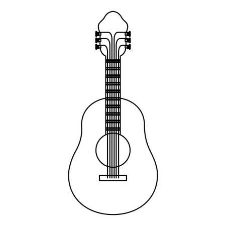 rock guitarist: monochrome silhouette of acoustic guitar vector illustration