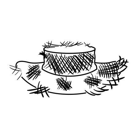 古い麦わら帽子ベクトル イラストのモノクロ シルエット  イラスト・ベクター素材