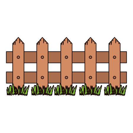 white background with wooden fence and meadow and thick contour vector illustration