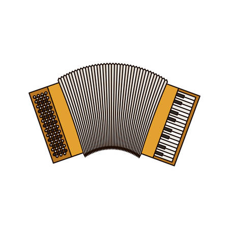 white background of accordion with thick contour vector illustration