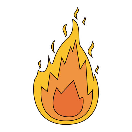 white background with flame icon with thick contour vector illustration Illustration
