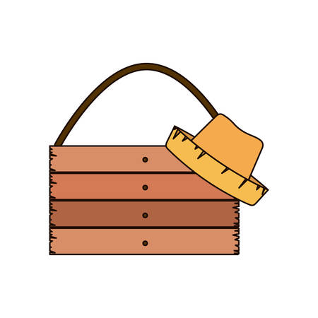 white background of wooden board with rope and straw hat with thick contour vector illustration Illustration