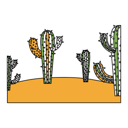 color sections silhouette of landscape of desert with cactus and thick contour in closeup vector illustration Illustration