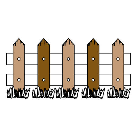 color sections silhouette of wooden fence with meadow and thick contour vector illustration