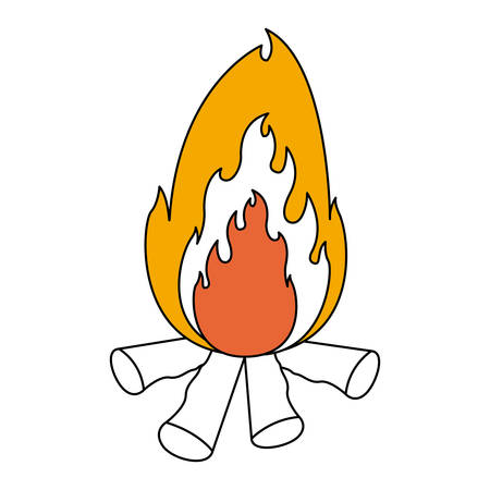 color sections silhouette of bonfire with thick contour in closeup vector illustration Illustration