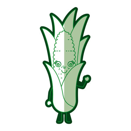 sweetcorn: green silhouette of cartoon corn with leaves and half shadow vector illustration Illustration