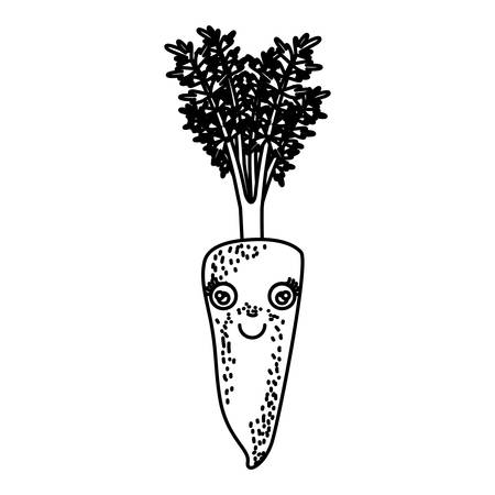 monochrome silhouette cartoon of carrot with freckles with stem and leaves vector illustration