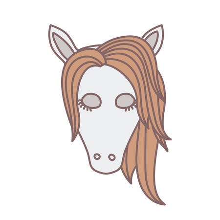 light colors of front face of female horse with closed eyes and mane vector illustration
