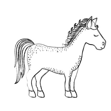 monochrome blurred silhouette of cartoon unicorn standing with closed eyes and looking towards the right vector illustration Illustration