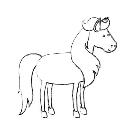 monochrome blurred silhouette of horse with mane and tail vector illustration Illustration