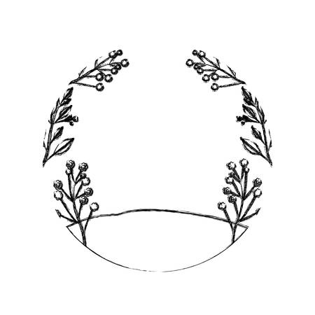 monochrome blurred silhouette of floral landscape and grassy field in circular frame vector illustration Illustration