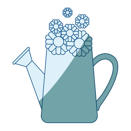 blue shading silhouette of watering can and sunflowers inside vector illustration Illustration