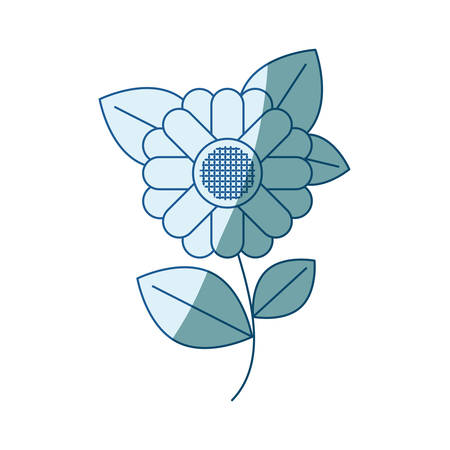 blue shading silhouette of abstract sunflower with stem and leaves in closeup vector illustration Illustration