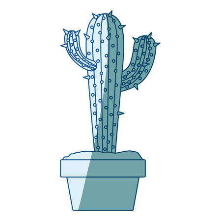 blue shading silhouette with cactus with two branches on top in pot vector illustration