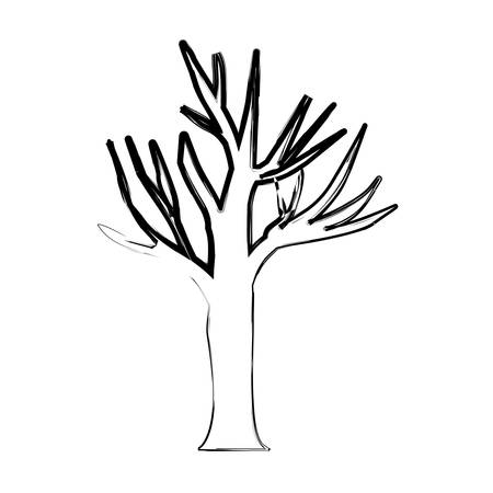monochrome blurred silhouette of dry tree with thin contour vector illustration