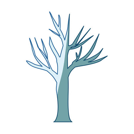 blue shading silhouette of dry tree vector illustration