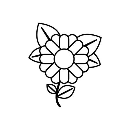 monochrome contour abstract sunflower with stem and leaves in closeup vector illustration