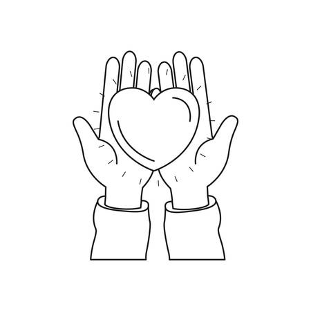 Silhouette front view of hands holding in palms a heart charity symbo