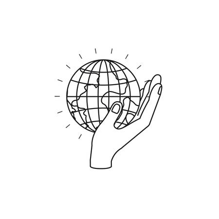 Silhouette side view of hand holding in palm a earth globe world charity symbol vector illustration