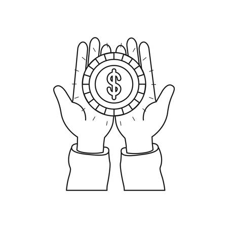 Silhouette front view of hands holding in palms a coin with dollar symbol vector illustration