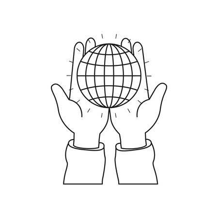 hand holding globe: Silhouette front view of hands holding in palms a globe chart with lines vector illustration