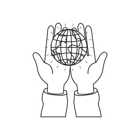 Silhouette front view of hands holding in palms a earth globe world charity symbol vector illustration