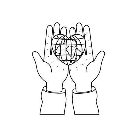 Front view of hands holding in palms a earth globe world in heart shape vector illustration